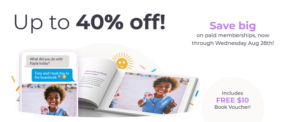 Save up to 40% off a Qeepsake membership and receive a $10 book voucher!